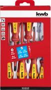 KWB Schutzisolierter Schraubendreher-Satz VDE Schraubenzieher 4 x Flach (Schlitz), 2 x Kreuz, 1 x Spannungsprüfer (7 Stück)