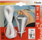 KWB Senklot mit Schnur Vollstahl mit Messing Kopfschraube 300 g, 20 m