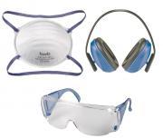 KWB Sicherheitsset, 3-tlg. - Gehörschutz, Schutzbrille & Feinstaubmaske, blau