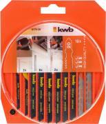 KWB Stichsägeblätter-Set Holz und Metall Einnockenschaft jeweils 2 x fein, mittel grob, Kurve HCS & 2 x fein HSS (10 Stück)