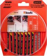 KWB Stichsägeblätter-Set Holz und Metall Universal-Schaft jeweils 2 x fein, mittel grob, Kurve HCS & 2 x fein HSS (10 Stück)