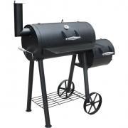 Landmann Smoker Grillwagen, seitliche Feuerbox, Holzkohlegrill Gusseisen Edelstahl