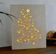 LED Dekolicht Dekobild aus Holz, Motiv Weinachtsbaum Tanne weiß Innenraum