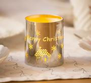 LED Dekolicht Flackerlicht Merry Christmas silber Metall Innenraum