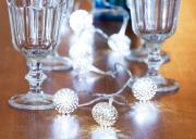 LED Lichterkette 10 Leuchten mit Metallkugeln silber 135cm Innenraum