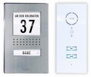 m-e VISTADOOR Audio-Türsprechanlagen-Set ADV 111 Edelstahl Außenstation Innenstation weiß inklusive Stecker-Netzteil