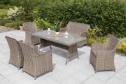 Merxx 11-teilig Riviera Set 4 Sessel 1 Bank zweisitzig inkl. Kissen 1 Tisch naturgrau Stahl mit Kunststoffgeflecht Gartenmöbel