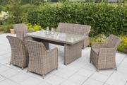 Merxx 11-teilig Riviera Set 4 Sessel 1 Bank dreisitzig inkl. Kissen 1 Tisch naturgraues Geflecht Gartenmöbel