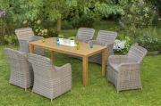 Merxx 13-teilig Riviera Set 6 Sessel inkl. Kissen 1 Tisch FSC Akazie Stahl mit Kunststoffgeflecht Gartenmöbel