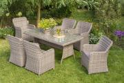 Merxx 13-teilig Riviera Set naturgrau 6 Sessel inkl. Kissen 1 Tisch Stahl mit Sicherheitsglasplatte Kunststoffgeflecht Gartenmöbel