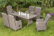 Merxx 13-teilig Riviera Set naturgrau 6 Sessel verstellbar durch Gasdruckfeder inkl. Kissen 1 Tisch naturgrau Stahl mit Kunststoffgeflecht Gartenmöbel