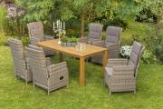 Merxx 13-teilig Riviera Set naturgrau 6 Sessel verstellbar durch Gasdruckfeder inkl. Kissen 1 Tisch FSC Akazie Stahl mit Kunststoffgeflecht Gartenmöbel