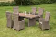 Merxx 13-teilig Toskana Set 6 Hochlehnersessel inkl. Kissen 1 Tisch naturfabenes Kunststoffgeflecht Tischplatte aus FSC Akazie Gartenmöbel