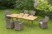 Merxx 13-teilig Toskana Set 6 Sessel inkl. Kissen 1 Doppelausziehtisch natur Aluminium mit Kunststoffgeflecht Gartenmöbel