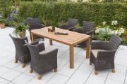Merxx 13-teilig Toskana Set braun 6 Sessel inkl. Kissen Aluminiumgestell mit Kunststoffgeflecht und Akazienbeinen 1 Tisch FSC Akazie Gartenmöbel