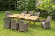 Merxx 17-teilig Toskana Set 8 Sessel inkl. Kissen 1 Doppelausziehtisch natur Aluminium mit Kunststoffgeflecht Gartenmöbel