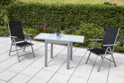 Merxx 3-teilig Amalfi Set 2 Klappsessel Rückenlehne 5-fach verstellbar 1 Balkonausziehtisch matte Glasplatte schwarz Aluminium