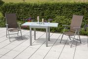 Merxx 3-teilig Amalfi Set 2 Klappsessel Rückenlehne 5-fach verstellbar 1 Balkonausziehtisch matte Glasplatte taupe Aluminium