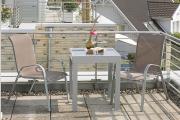 Merxx 3-teilig Avellino Set 2 Stapelsessel 1 Balkonausziehtisch graue Glasplatte taupe farbenes Textil