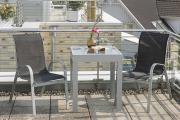 Merxx 3-teilig Avellino Set 2 Stapelsessel 1 Balkonausziehtisch graue Glasplatte schwarzes Textil