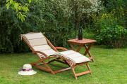 Merxx 3-teilig Copa Cabana Set Schwungliege Gartenliege + Wendekissen grün/beige mit Hocker FSC Eukalyptus
