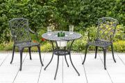 Merxx 3-teilig Rohodos Set 2 Rhodos Sessel mit Armlehne 1 Tisch Ø 70 cm