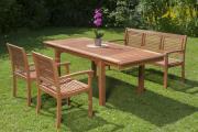 Merxx 4-teilig Cordoba Set Gartenmöbel Set 2 Sessel 1 Bank 3-sitzig 1 Seitenausziehtisch FSC Eukalyptusholz