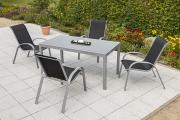 Merxx 5-teilig Amalfi Set 4 Stapelsessel 1 Tisch schwarz Aluminium mit Textilbespannung Gartenmöbel