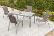 Merxx 5-teilig Amalfi Set 4 Stapelsessel 1 Tisch taupe Aluminium mit Textilbespannung Gartenmöbel