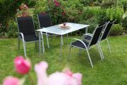 Merxx 5-teilig Avellino Set 4 Stapelsessel schwarz 1 Tisch Stahl mit Textilbespannung Gartenmöbel