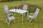 Merxx 5-teilig Carrara Set diamantbraun 4 Klappsessel 5-fach verstellbar 1 Tisch Aluminium mit Textilbespannung Gartenmöbel