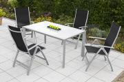 Merxx 5-teilig Carrara Set schwarz 4 Klappsessel 5-fach verstellbar 1 Tisch Aluminium mit Textilbespannung Gartenmöbel