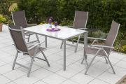 Merxx 5-teilig Carrara Set taupe 4 Klappsessel 5-fach verstellbar 1 Tisch Aluminium mit Textilbespannung Gartenmöbel