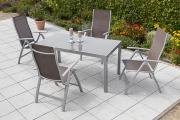Merxx 5-teilig Carrara Set taupe 4 Klappsessel 5-fach verstellbar Aluminium mit Textilbespannung Gartenmöbel