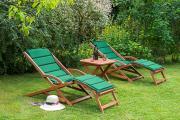 Merxx 5-teilig Copa Cabana Set 2 Schwungliegen + Wendekissen grün/beige mit Hocker FSC Eukalyptus