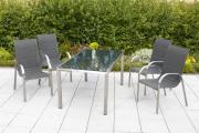 Merxx 5-teilig Lucca Set 4 Stapelsesse gepolstert 1 Tisch 150 x 90 cm