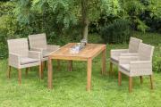 Merxx 5-teilig Ranzano Set 4 Sessel Beine aus Akazienholz 1 Ausziehtisch modern 150 (200) x 90 cm Akazienholz