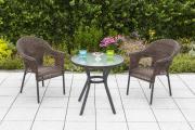 Merxx 3-teilig Ravenna Set 2x Stapelsessel 1x Tisch Ø 70 cm schoko Aluminium mit Kunststoffgeflecht Gartenmöbel