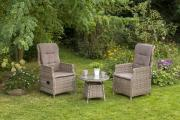 Merxx 5-teilig Riviera Set 2 Sessel inkl. Kissen 1 Beistelltisch naturgrau Gartenmöbel