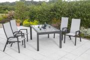 Merxx 5-teilig Sam Remo Set 4 Sessel Rückenlehne verstellbar graue Textilbespannung 1 Ausziehtisch graue Glasplatte Gartenmöbel