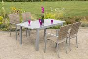 Merxx 5-teilig Savona Set 4 Stapelsessel 1 Ausziehtisch Aluminium mit Kunststoffgeflecht Gartenmöbel