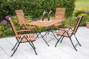 Merxx 5-teilig Schlossgarten Set 4 Klappsessel mit hoher Lehne 5-fach verstellbar 1 Klapptisch FSC Eukalypstusholz Gartenmöbel