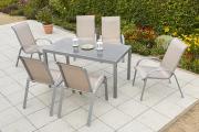 Merxx 7-teilig Amalfi Set 6 Stapelsessel 1 Tisch Champagner Aluminium mit Textilbespannung Gartenmöbel
