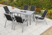Merxx 7-teilig Amalfi Set 6 Stapelsessel 1 Tisch schwarz Aluminium mit Textilbespannung Gartenmöbel