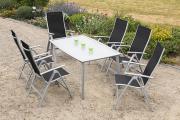 Merxx 7-teilig Carrara Set schwarz 6 Klappsessel 5-fach verstellbar 1 Tisch Beine im 45° Winkel gedreht Gartenmöbel