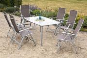 Merxx 7-teilig Carrara Set taupe 6 Klappsessel 5-fach verstellbar 1 Tisch Aluminium mit Textilbespannung Gartenmöbel