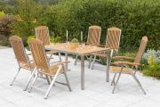 Merxx 7-teilig Keros Set 6 Keros Klappsessel Rückenlehne 5-fach verstellbar 1 Tisch 150 x 90 cm