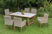 Merxx 7-teilig Ranzano Set 6 Sessel Beine aus Akazienholz 1 Keramikfliesentisch 172 x 105 cm