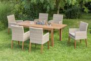 Merxx 7-teilig Ranzano Set 6 Sessel Beine aus Akazienholz 1 Ausziehtisch modern 150 (200) x 90 cm