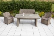 Merxx 7-teilig Riviera Set 2 Sessel 1 Bank dreisitzig inkl. Kissen 1 Tisch aufliegende Glasplatte naturgraues Geflecht Gartenmöbel